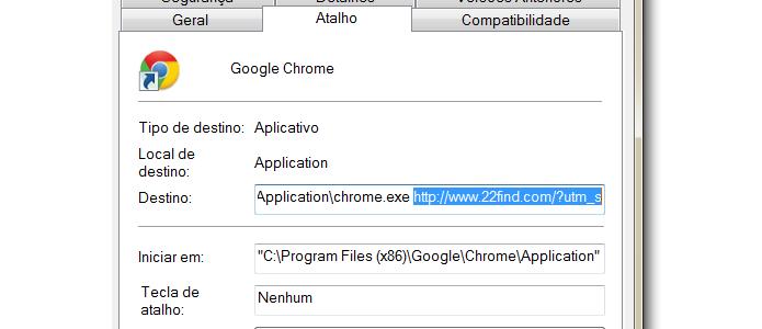 Remova o site do 22Find e o que vem após ele, nas parte Destino, nas Propriedadesdo atalho do Google Chrome.