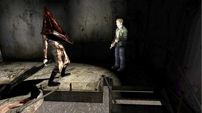 Pyramid Head seguindo jogador em Silent Hill 2