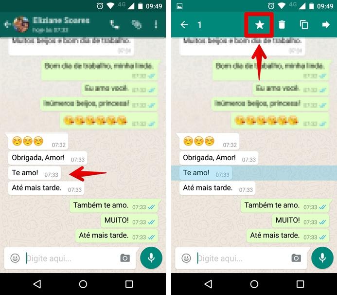 Favoritando mensagens no Whatsapp para Android (Foto: Felipe Alencar/TechTudo)