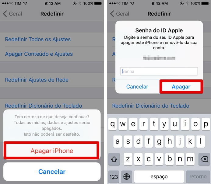 Confirmando o reset do iPhone 5C (Foto: Felipe Alencar/TechTudo)